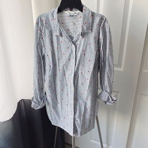Old Navy Striped Heart Print Button Down Shirt
